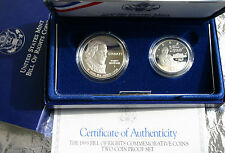1993 Bill of Rights 90% Silver 2 Coin Madison Proof Silver Dollar & Half Set