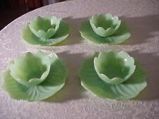 "Vintage Jadite Green Fire King ""Leaf and Blossom"" Snack Set for 4"