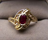 14K Yellow Gold Ruby Diamond Ring Oval Red Ruby Bezel Set Channel Set Quality