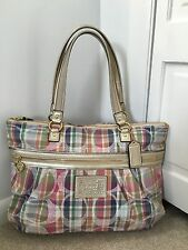 Authentic Coach 21956 Poppy Daisy Madras Pastel Plaid MultiColor Glam Large Tote