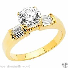 14K Solid Yellow Gold 1.25ct Man Made Diamond Engagement Ring Round Cut