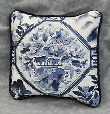 "Pillow made w Ralph Lauren Palm Harbor Octagonal Blue & White Fabric 9"" cord NEW"