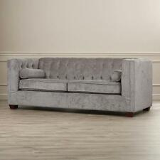 Tufted Sofa Couch Gray Charcoal Grey Velvet Microfiber Contemporary Living Room