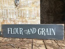 "Large Rustic Wood Sign - ""Flour And grain"" Farmhouse STYLE  Kitchen"