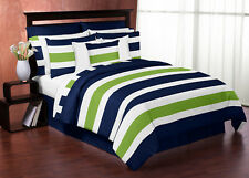 Jojo Modern Navy Blue Lime Green White Queen Size Comforter Set Bedding Ensemble
