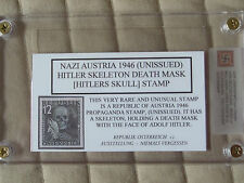 Nazi Austria 1946 Unissued Hitler Death Mask Propaganda Stamp--Replica w/holder
