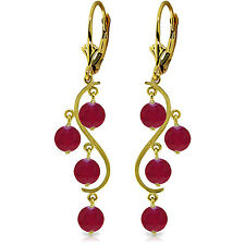4 Carat 14K Solid Gold Chandelier Earrings Natural Ruby