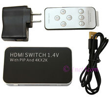 HDMI 4x1 Switch Splitter  w/ Picture in Picture Function Supports 3D & 4K 2K