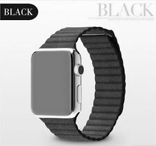 Black Genuine Leather Loop Magnetic Closure Band Strap For Apple Watch Series 2