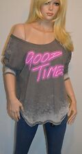 "New $68 Chaser ""Good Times"" Burnout Tee Top/T-Shirt Gray/Neon Pink Large LS"