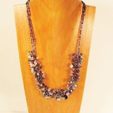 """20"""" Blue Purple Stone Shell Chip Handmade Seed Bead Necklace FREE SHIPPING!"""