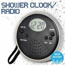 Shower Clock Radio FM News Weather Digital Time Bathroom Water Resistant