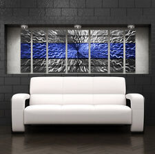 Large Blue Metal Wall Art Panels Modern Contemporary Abstract Sculpture Decor