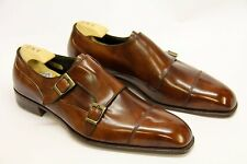 Men Handmade Made to Order Brown Oxford Monk Leather shoes double Buckle strap