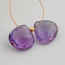10mm Rich Purple Amethyst Faceted Calibrated Heart Briolette Beads PAIR