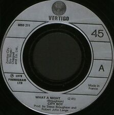 "CITY BOY what a night/medicine 6059 211 made in france vertigo 7"" WS EX/ noc"