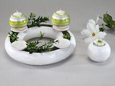 Moderner Jahresring Kerzenhalter aus Keramik in samunga-weiß Durchmesser 30 cm