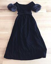 VINTAGE 60s Oscar de la Renta Boutique Black Velvet & Fur Belted Gown Dress SZ 8
