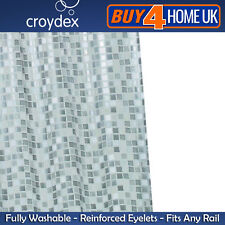 Croydex PVC Waterproof Bathroom Easy Clean Shower Curtain Silver Mosaic Vinyl