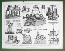 MILLS Various Types Millstones Milling Machines - 1870s Antique Print