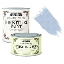 Rust-Oleum Chalky Furniture Paint Chic Shabby 125ml Powder Blue 400ml Clear Wax