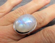 Large 925 Silver RAINBOW MOONSTONE Ring Sz K 1/2-5.5 R701~Silverwave*uk