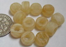 "50 Czech Glass Pale Yellow Gold ""Wood Grain"" Pony Beads 9mm x 6mm"