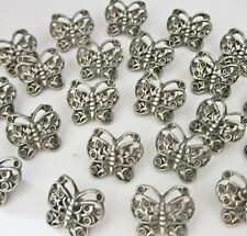 Lot 36 butterfly style gray metal sewing buttons craft supplies 14mm #MM26a