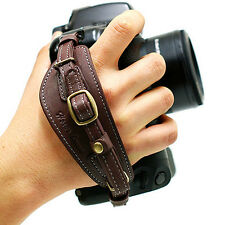 NEW HORUSBENNU D-SLR RF Camera Leather Hand Grip Strap Brown w/ Dovetail Plate