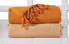 EHC Luxury Chevron Cotton Single Sofa Throw Blanket, Orange, 125 X 150 Cm, Pack