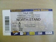 Rugby match ticket - 2008 engager super league xiii-leeds rhinos-hull kr