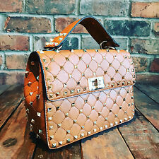 Womens Brown Studded Moda Tote Handbag Faux Leather with Free River Island Gift