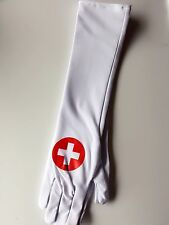 Halloween Lady Nurse Uniform Cross Costume Party White long Gloves dress up Prop