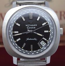 VINTAGE Wittnauer Geneve Mens Steel 36mm Automatic Watch Racing Dial NOS Unworn