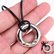 925 Sterling Silver Circle Pendant + 18 inch Black Leather Chain Necklace M39