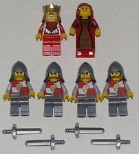 LEGO LOT OF 6 NEW KINGDOMS LION KNIGHT MINIFIGURES WITH KING QUEEN WEAPONS MORE