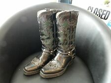 Women 8-B Custom Made Lucchese? Black and Green Western Horse Cowboy Boots