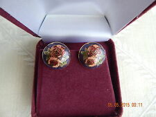 Cloisonne round Clip on Earrings, base metal