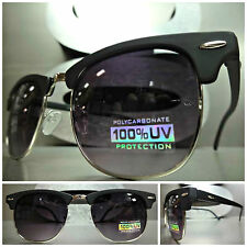 New CLASSIC Old School 60's VINTAGE Style SUN GLASSES Matte Black & Silver Frame