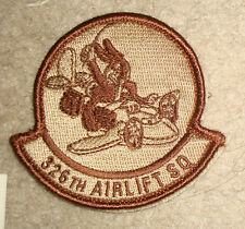 USAF PATCH, 326TH AIRLIFT SQUADRON, DESERT,WITH VELCR