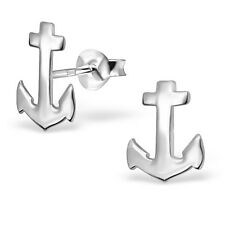 925 Sterling Silver Anchor Nautical Sea Stud Earrings Birthday Gift