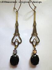 Art Nouveau Art Deco Pendientes Estilo Vintage Celta Eduardiano Negro Gota Largo