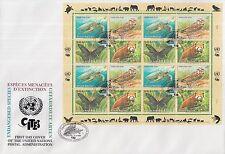 UNO Wien Zusammendruckbogen 248-51 (Gefährdete Arten) auf groß- FDC