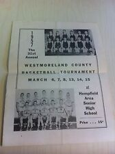 1957 Westmoreland County Basketball Tournament Hempfield High School Program old