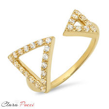 0.36 CT Modern Arrow Designer Ring Band Round Cut Halo Solid 14k Yellow Gold