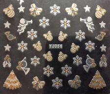 Accessoire ongles, nail art, Stickers noël : boules et étoiles blanc et doré