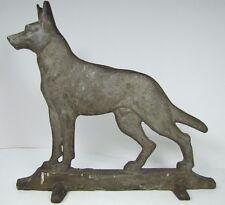 Old Cast Iron German Shepherd Dog Large Figural Doorstop wedge base door stopper