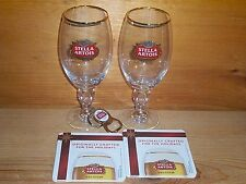 STELLA ARTOIS 2 CHALICE GLASSES, 2 HOLIDAY BAR COASTERS & 1 OPENER GIFT SET NEW