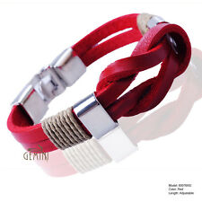 Mens Fawn Knot Infinity Genuine Leather Wristband Cuff Bracelet USGM076FW