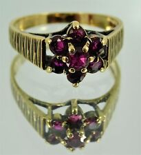 Vintage English 9ct Yellow Gold Ruby Flower Cluster Ring UK M 1/2